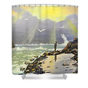 Rock Fishing At Wombarra  Shower Curtain