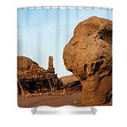 Rock Formations And Abandoned Building Shower Curtain