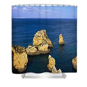 Rock Formations In The Sea, Algarve Shower Curtain