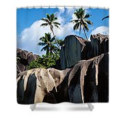 Rock Formations On The Beach, Anse Shower Curtain