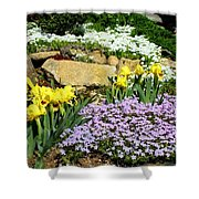 Rock Garden Flowers Shower Curtain