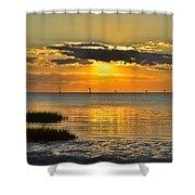 Rock Harbor Sunset 2 Shower Curtain