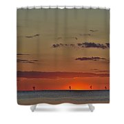 Rock Harbor Sunset 6 Shower Curtain