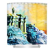 Rock Hewn Monastery Ad-deir Shower Curtain by Catf
