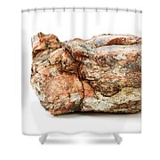 Rock Isolated On White Shower Curtain