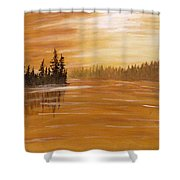 Rock Lake Morning 1 Shower Curtain