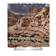 rock landscape with simple tombs in Petra Shower Curtain