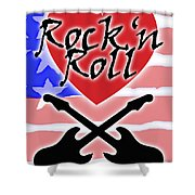 Rock N Roll Stars N Stripes Shower Curtain