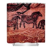 Rock Painting Of Tarpans Ponies, C.17000 Bc Cave Painting Shower Curtain