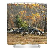Rock Pile In Maine Blueberry Field Shower Curtain by Keith Webber Jr