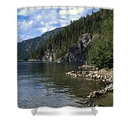 Rock Pools On Christina Lake Shower Curtain