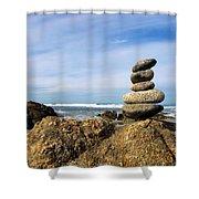 Rock Sculpture At The Beach Shower Curtain