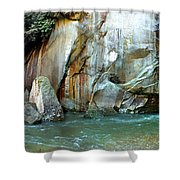 Rock Wall And River Shower Curtain