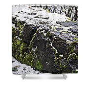 Rock Wall With Moss And A Dusting Of Snow Art Prints Shower Curtain