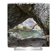 Rock Window Shower Curtain by David Morefield