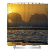 Rockaway Beach Oregon Turning The Sky To Gold Shower Curtain