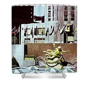 Prometheus Rockefeller Plaza 1950 Shower Curtain