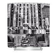 Rockefeller Center Black And White Shower Curtain
