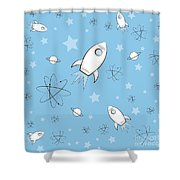 Rocket Science Light Blue Shower Curtain