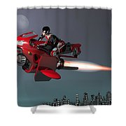 Rocket Scooter Shower Curtain