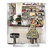Rockin Robin's Soda Shop Shower Curtain
