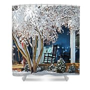 Rocking Chair On Porch In Winter Shower Curtain