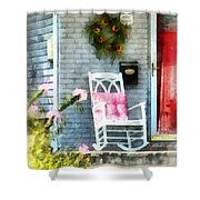 Rocking Chair With Pink Pillow Shower Curtain