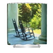 Rocking Chairs And Columns Shower Curtain