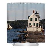 Rockland Breakwater Light 8986 Shower Curtain