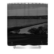 Rockland Breakwater Lighthouse  - Black And White Shower Curtain