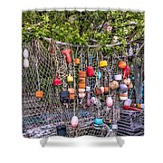 Rockport Fishing Net And Buoys Shower Curtain