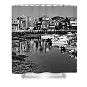 Rockport Harbor - Bw Shower Curtain