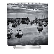Rockport Harbor View - Bw Shower Curtain