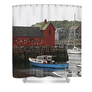 Rockport Inner Harbor With Lobster Fleet And Motif No.1 Shower Curtain