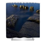 Rocks And Posts Shower Curtain