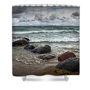 Rocks And Waves At Wilderness Park In Sturgeon Bay Shower Curtain