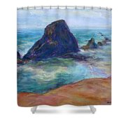 Rocks Heading North - Scenic Landscape Seascape Painting Shower Curtain