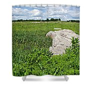 Rocks In A Tall Grass Prairie In Pipestone National Monument-minnesota Shower Curtain
