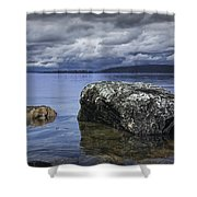 Rocks In The Water On A Lake In Acadia National Park Shower Curtain