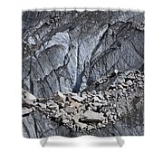 Rocks Resting On The Ghulkin Glacier Shower Curtain