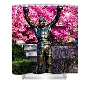 Rocky Among The Cherry Blossoms Shower Curtain