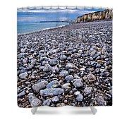 Rocky Beach Normandy France Shower Curtain