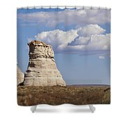 Rocky Buttes Protrude From The Middle Of Arizona Landscape Shower Curtain
