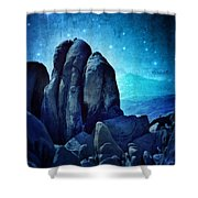 Rocky Cliff In Starlight Shower Curtain