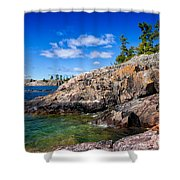 Rocky Coast And Clear Water Of Lake Superior Shower Curtain