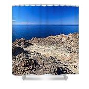 rocky coast in San Pietro island Shower Curtain