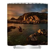 Rocky Coastline At Sunset, Point Shower Curtain