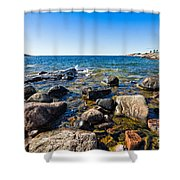 Rocky Cove At Lake Superior North Shore Shower Curtain
