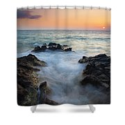 Rocky Inlet Sunset Shower Curtain by Mike  Dawson