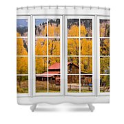 Rocky Mountain Autumn Ranch White Window View Shower Curtain